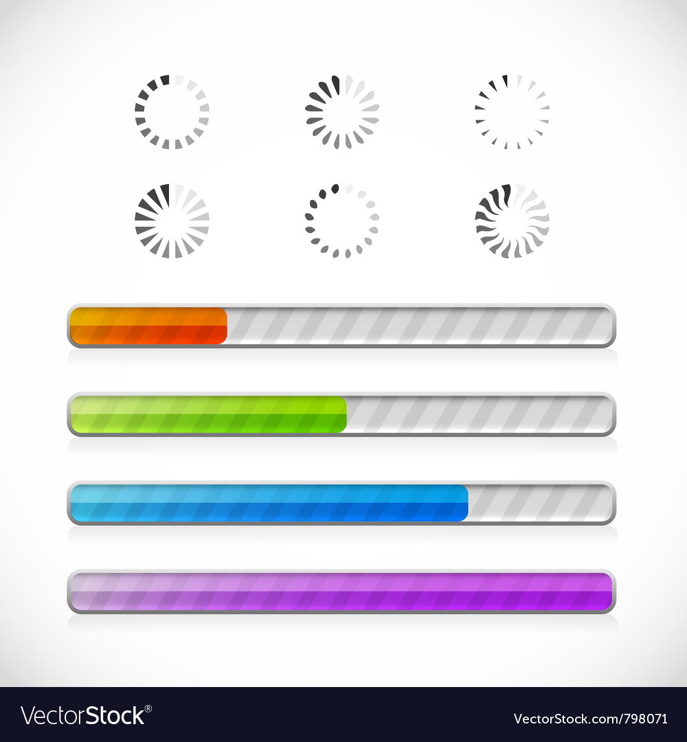 Preloaders and progress bars vector image