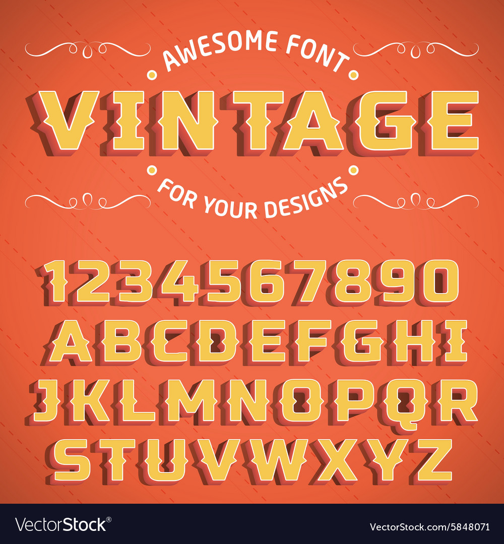 Vintage 3D Font with shadow vector image