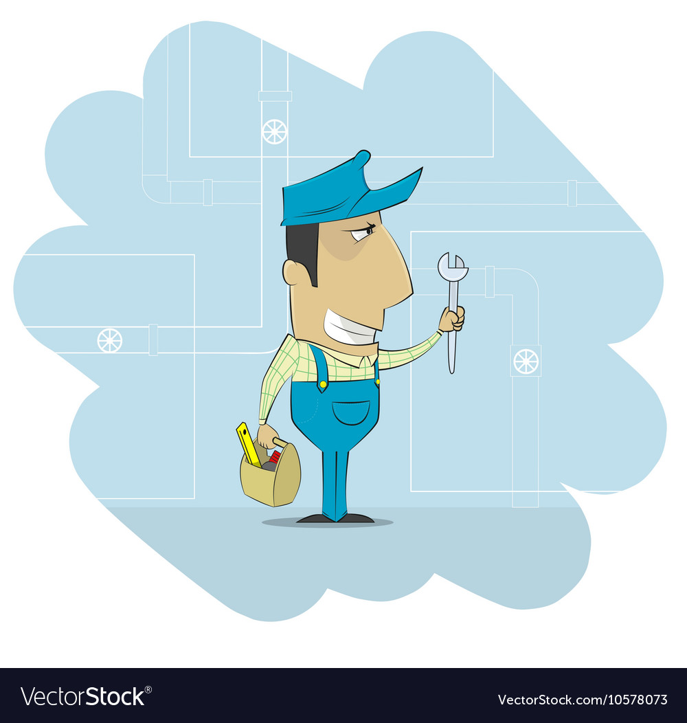 Cartoon plumber that dressed in work clothes and vector image