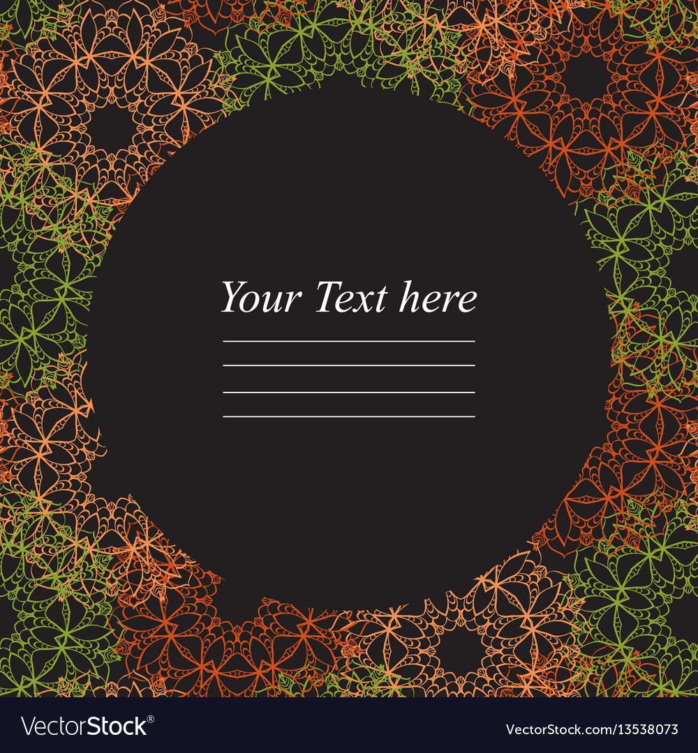Circular frame with colorful mandala on a dark vector image
