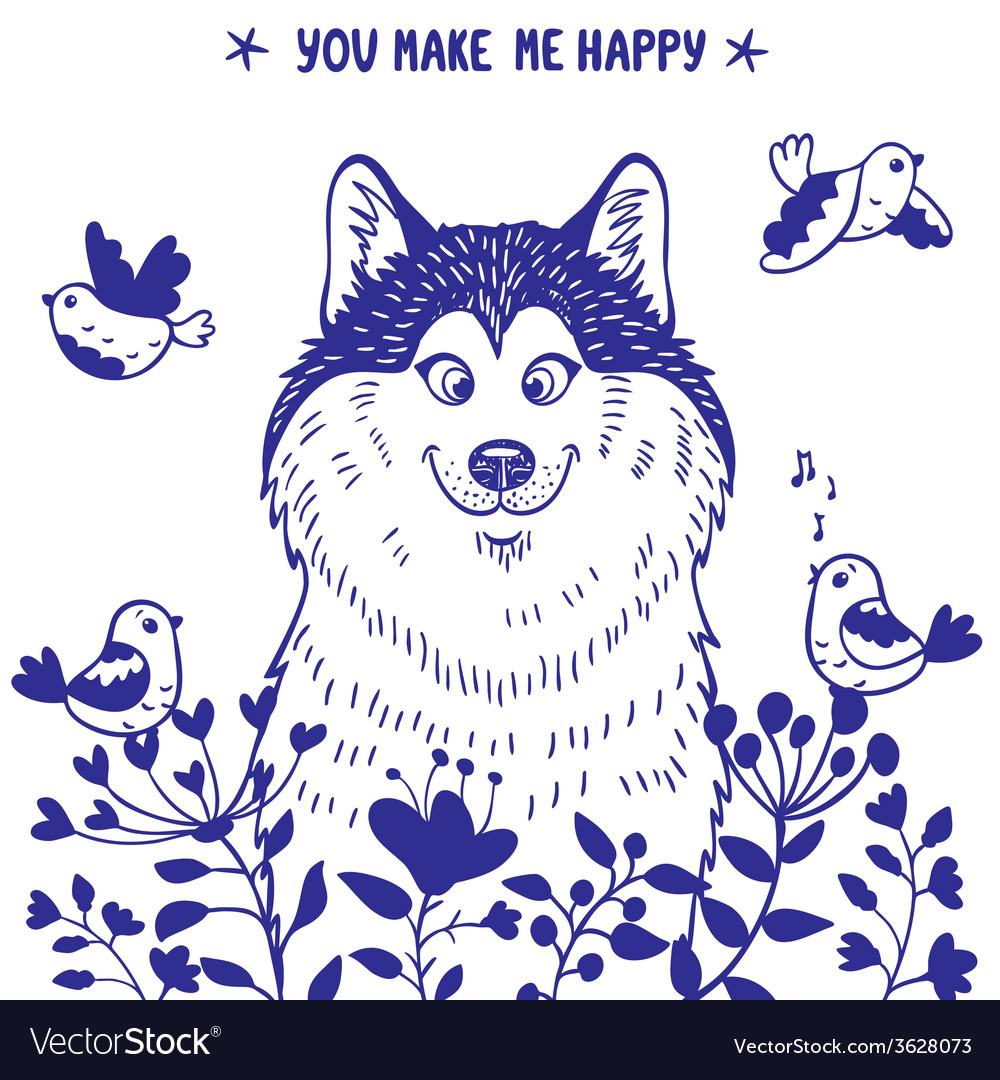 Husky positive vector image
