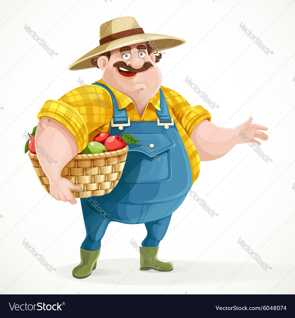 Fat farmer in overalls holding a basket of apples vector image