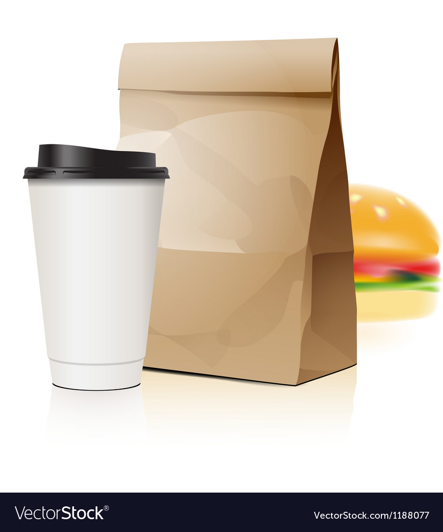 Pack set with cup and package vector image