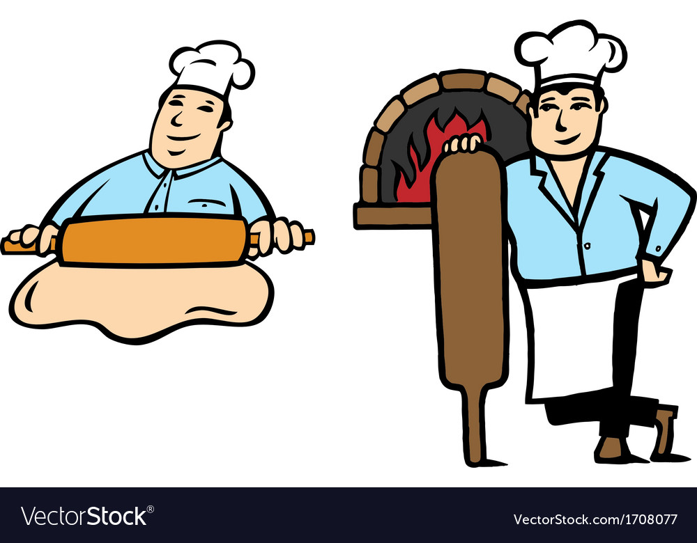 Baker makes bread vector image