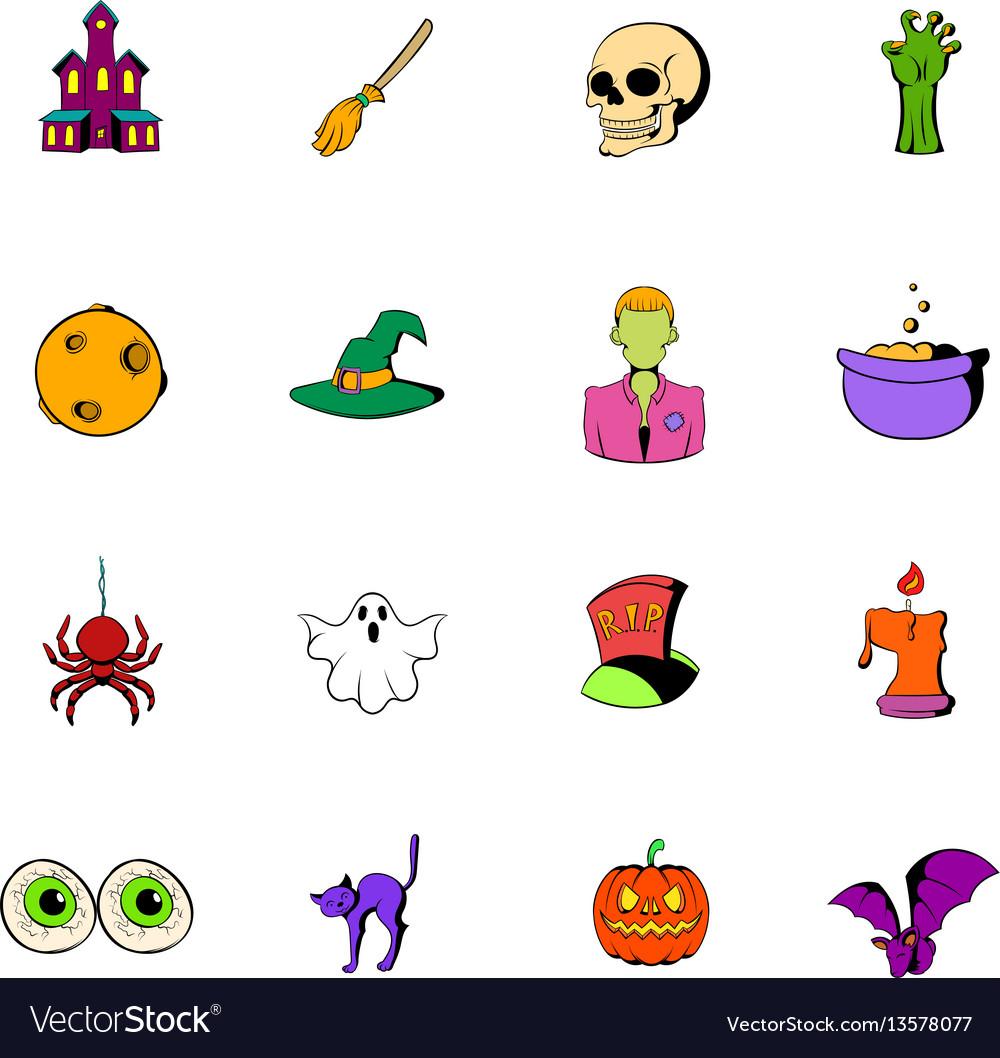 Halloween set icons set cartoon vector image