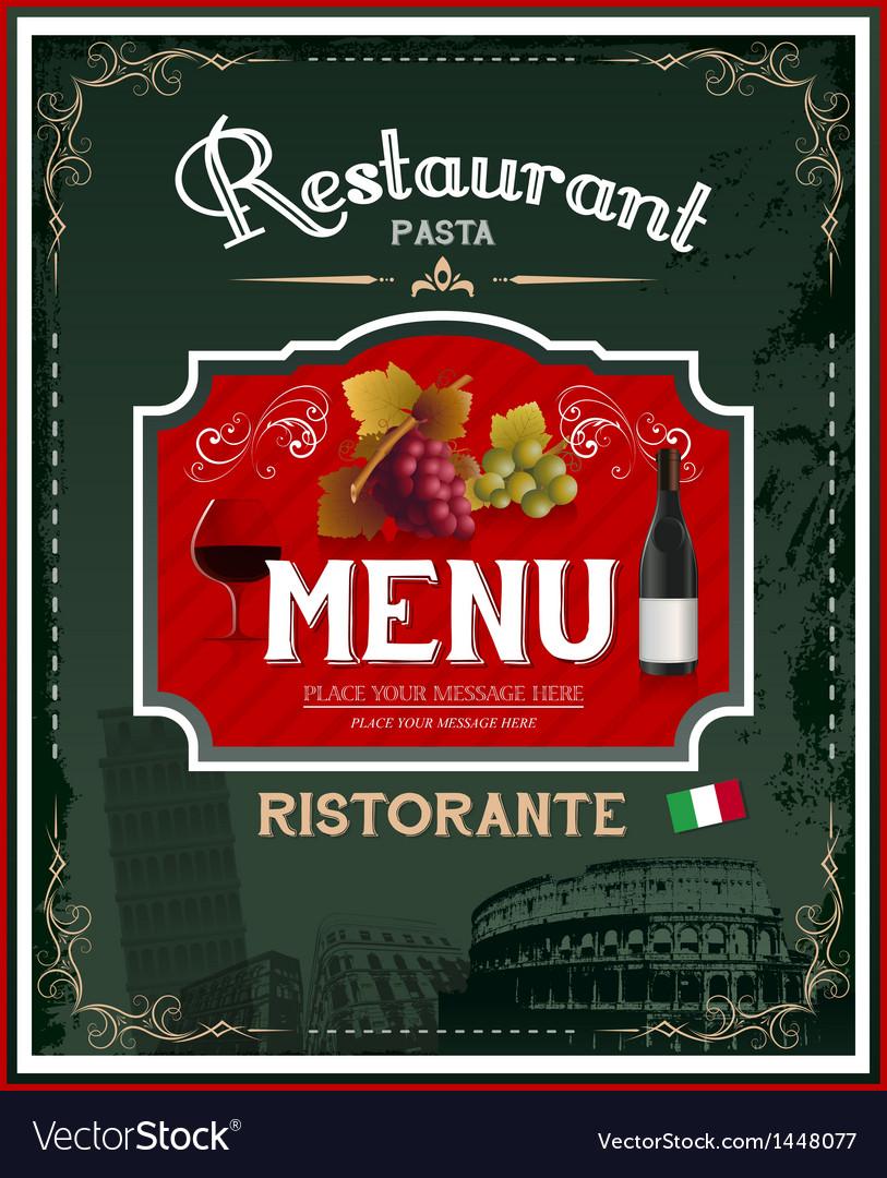Poster design vector - Vintage Italian Restaurant Menu And Poster Design Vector Image