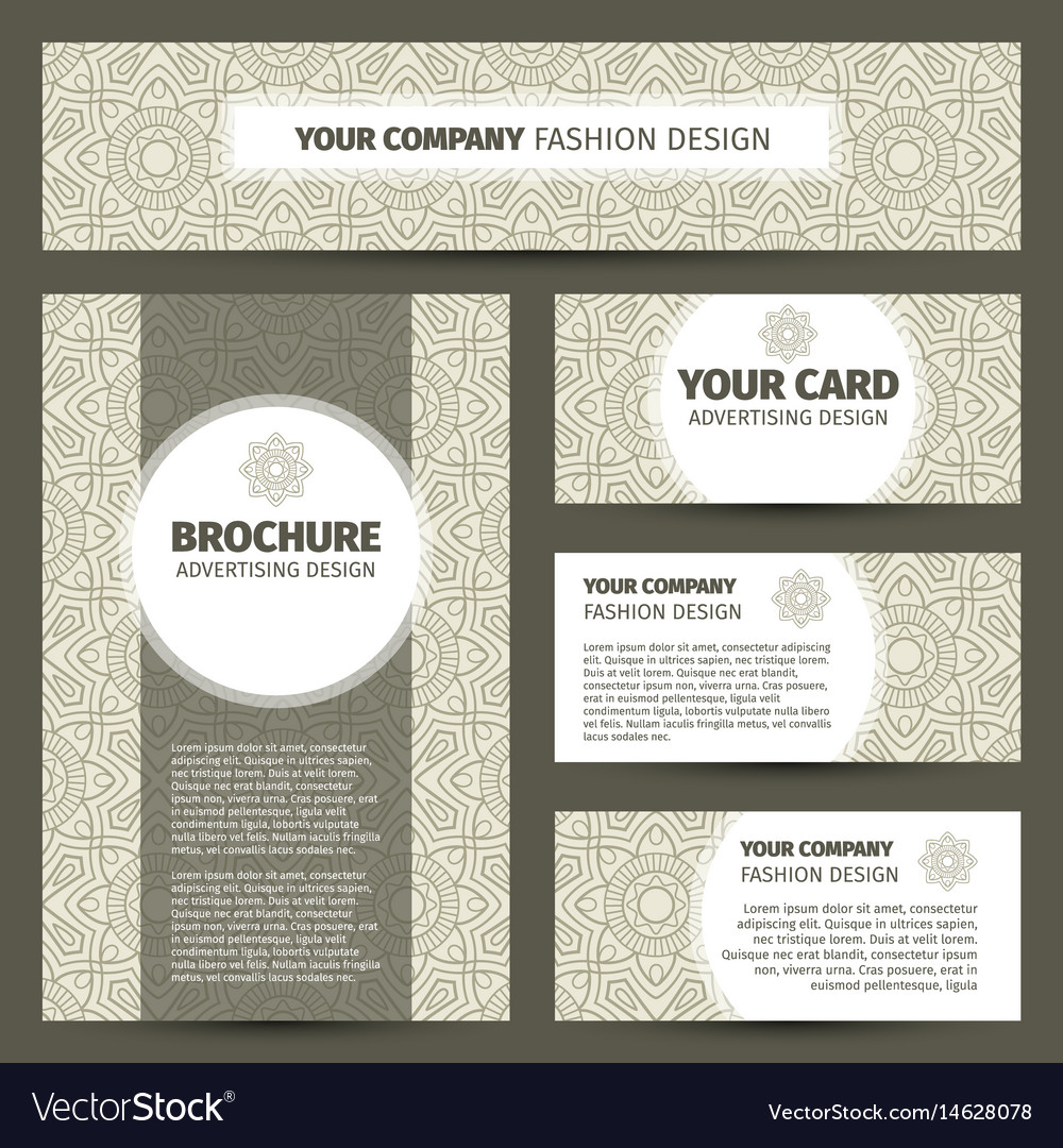 Corporate identity design with indian pattern vector image