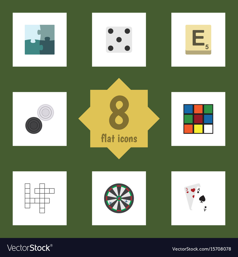 Flat icon play set of cube backgammon mahjong vector image