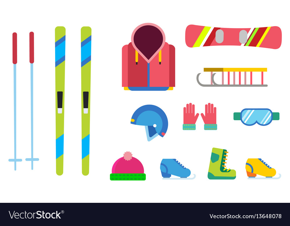 Winter sport icons set ski snowboarding vector image