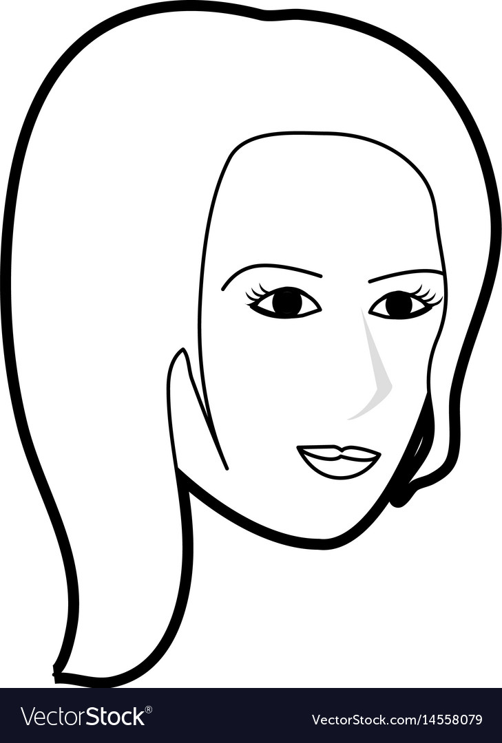 Black silhouette cartoon side profile face woman vector image