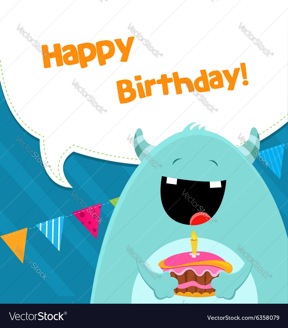 Monster With Cake vector image