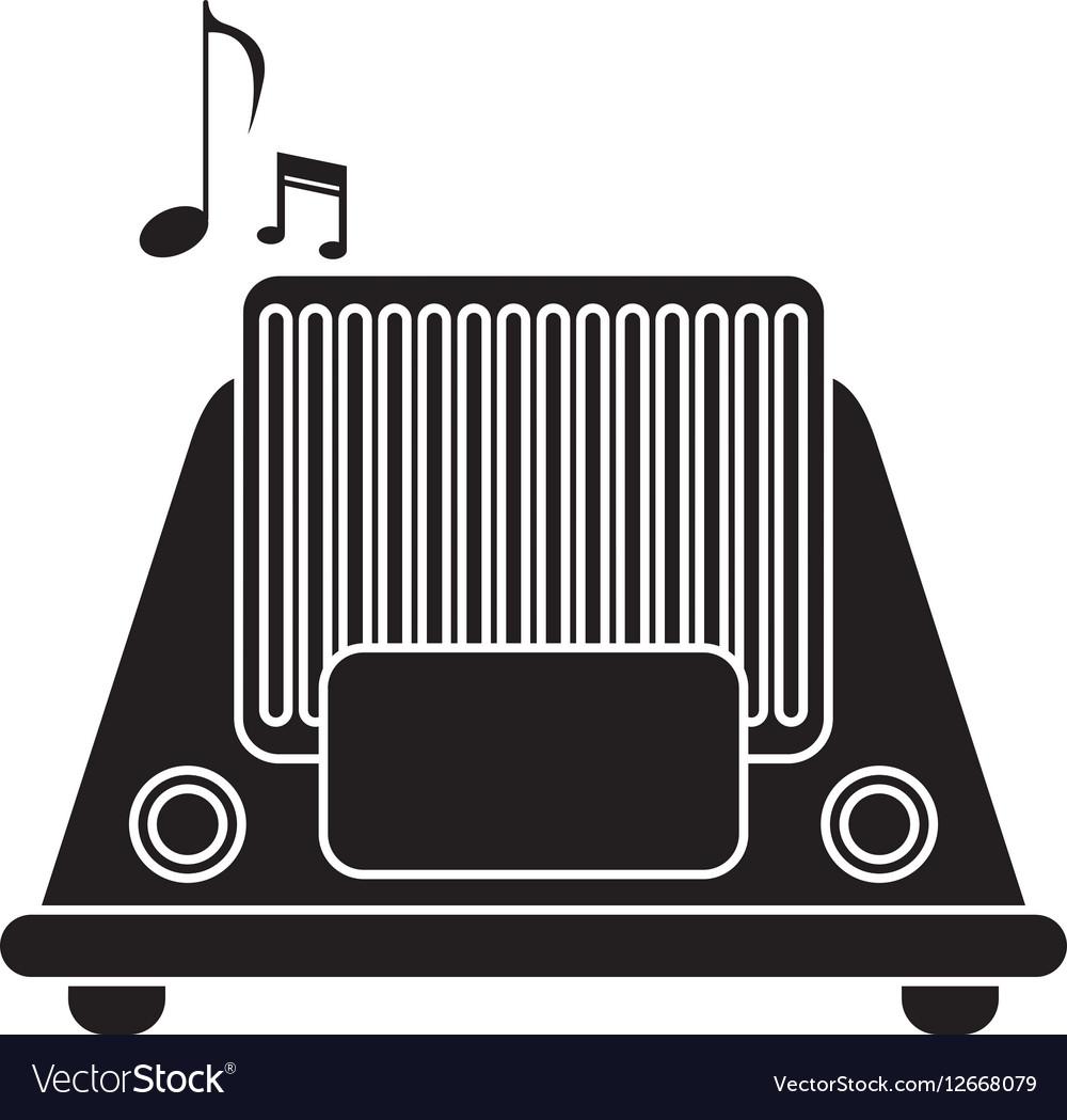 Silhouette radio music communication device vector image