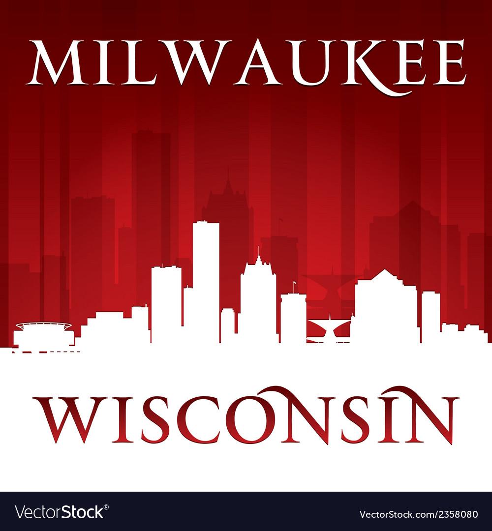Milwaukee Wisconsin city skyline silhouette vector image