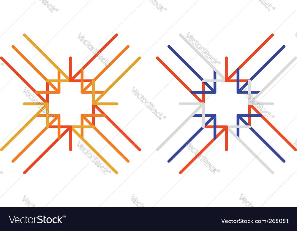 Arrows to cross vector image