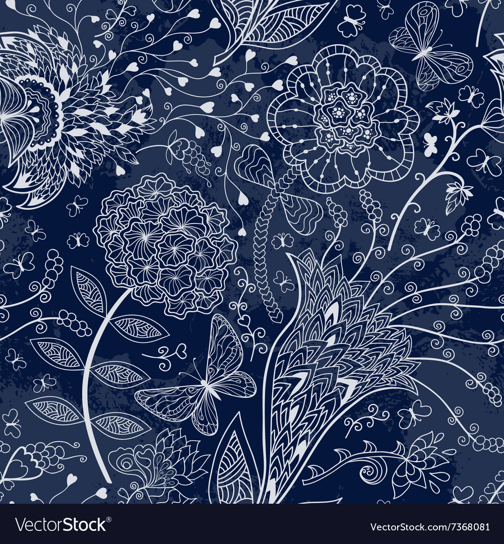 Seamless floral pattern on a dark blue background vector image