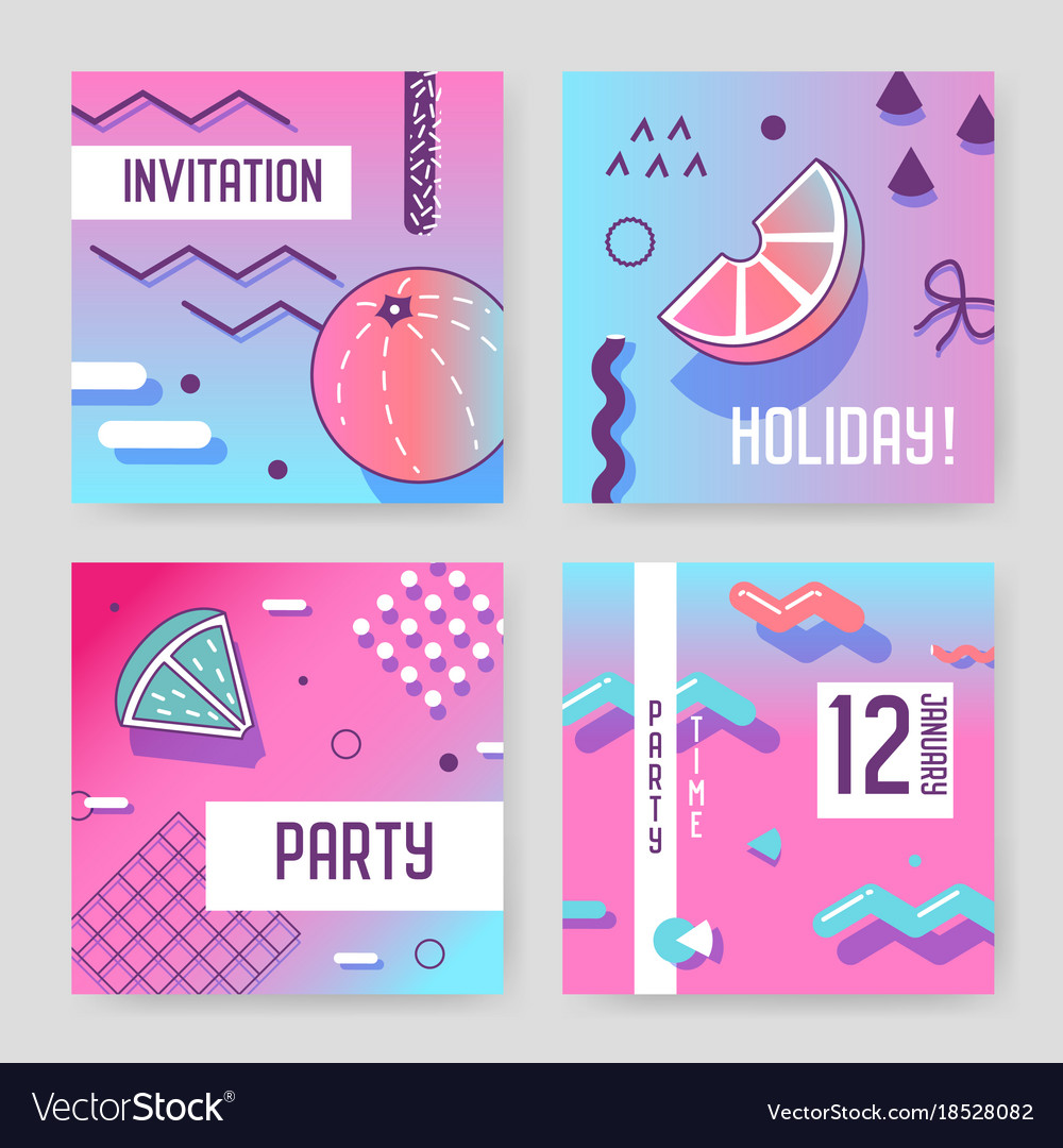 Invitation cards in geometric trendy memphis style invitation cards in geometric trendy memphis style vector image stopboris Image collections