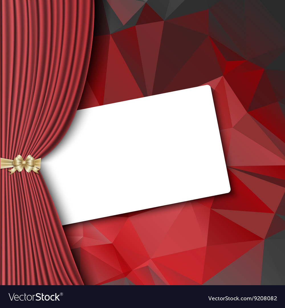 Theater curtain with blank card vector image