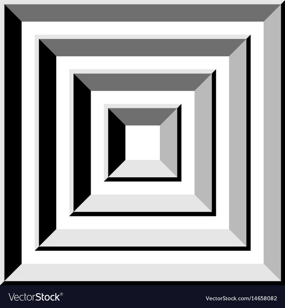 Tunnel gray square abstract shape vector image