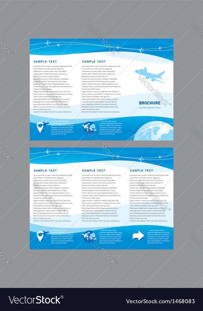 Brochure airplane takeoff fligh vector image