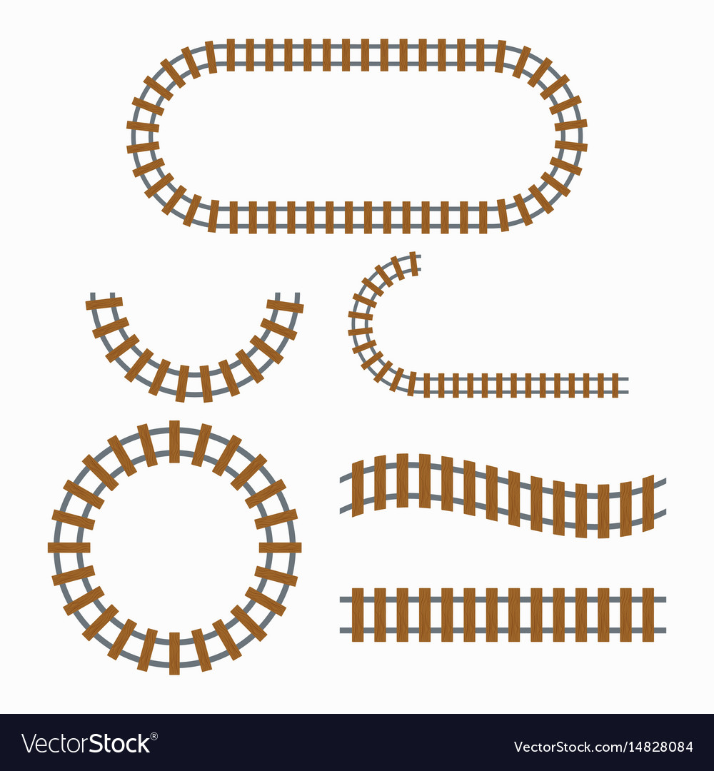 Railroad tracks construction vector image