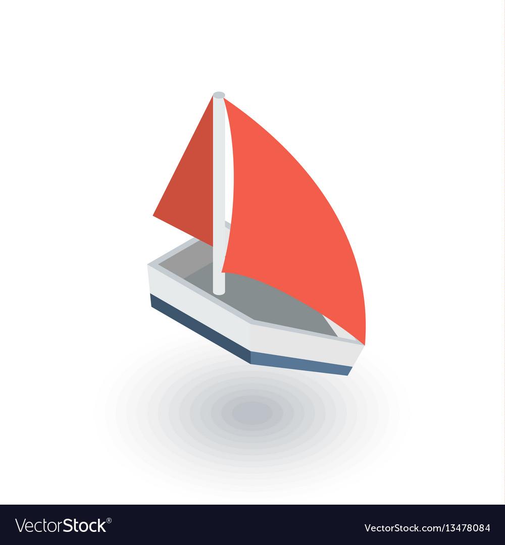 Sailing ship isometric flat icon 3d vector image