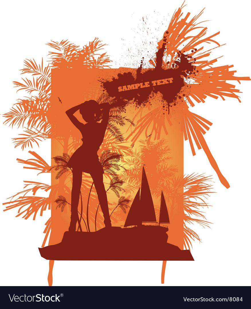 Summer girl dancing vector image
