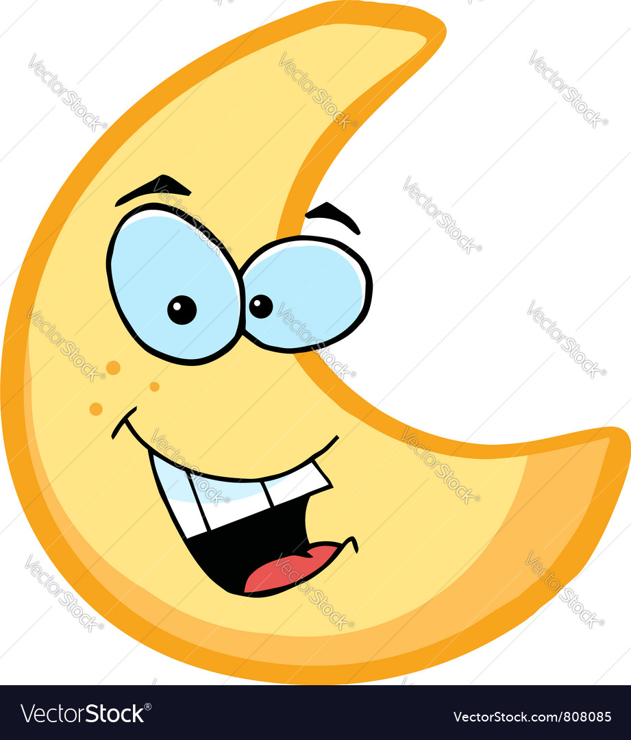 Moon Cartoon Character vector image