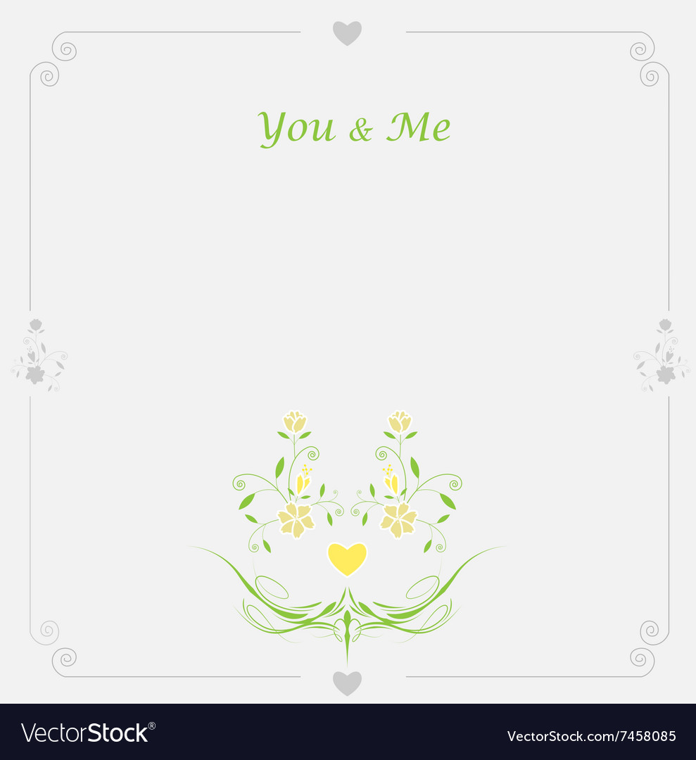 Wedding floral card with place for text vector image