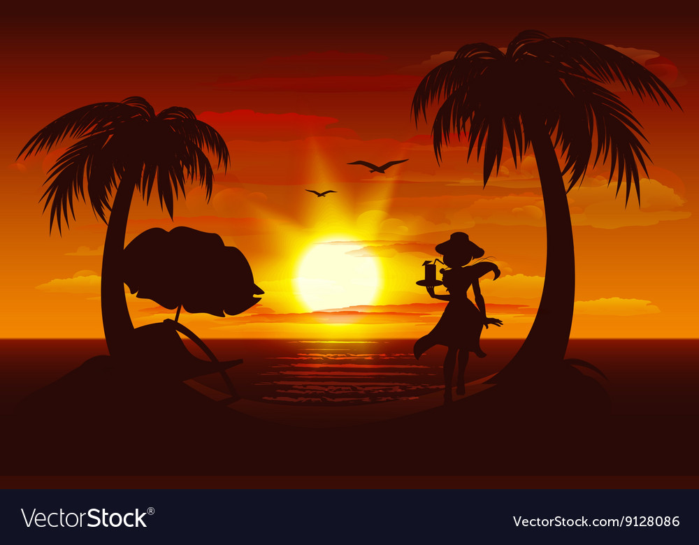Evening sunset on sea Sea palm trees silhouette vector image
