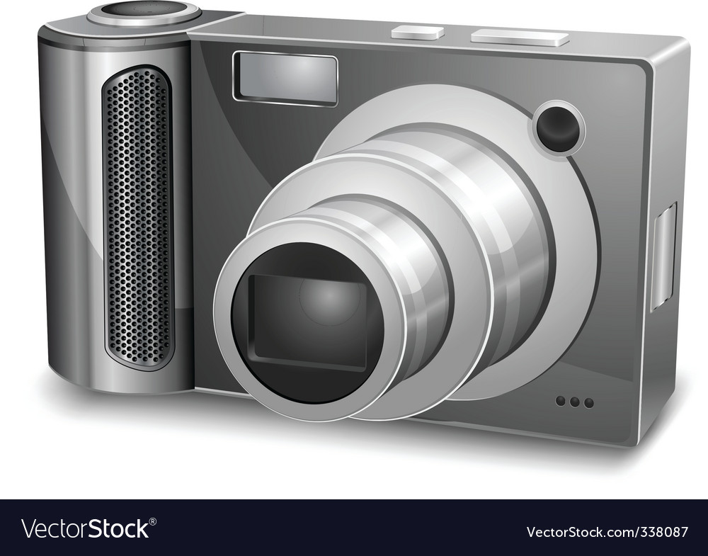 Silver photo camera vector image