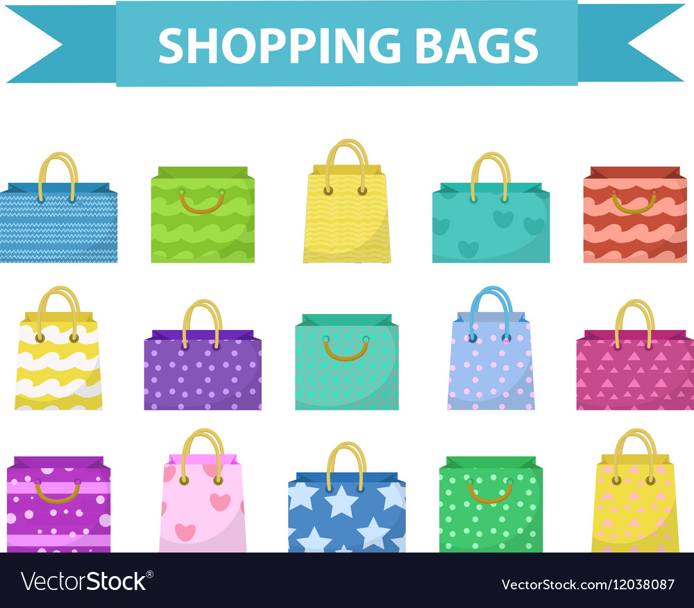 Cute shopping bag set Colorful bags with vector image