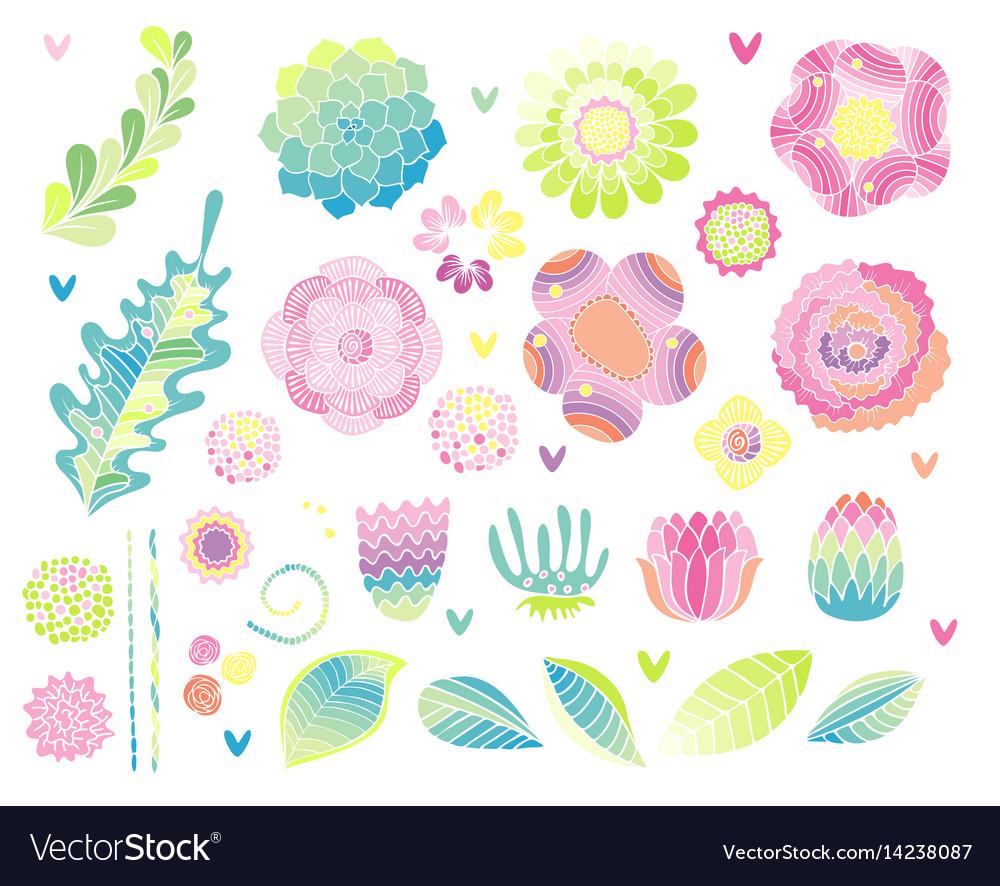Floral hand drawn set flower elements vector image