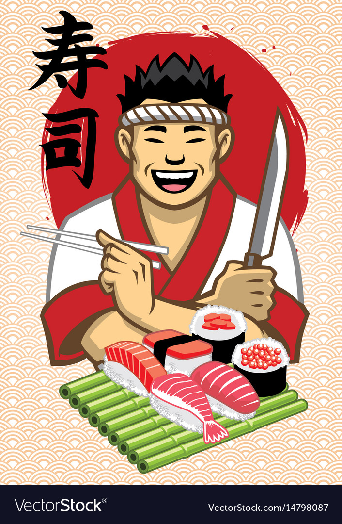 Japanese chef presenting a set of sushi with vector image