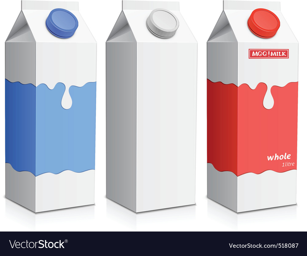 Milk carton with screw cap vector image