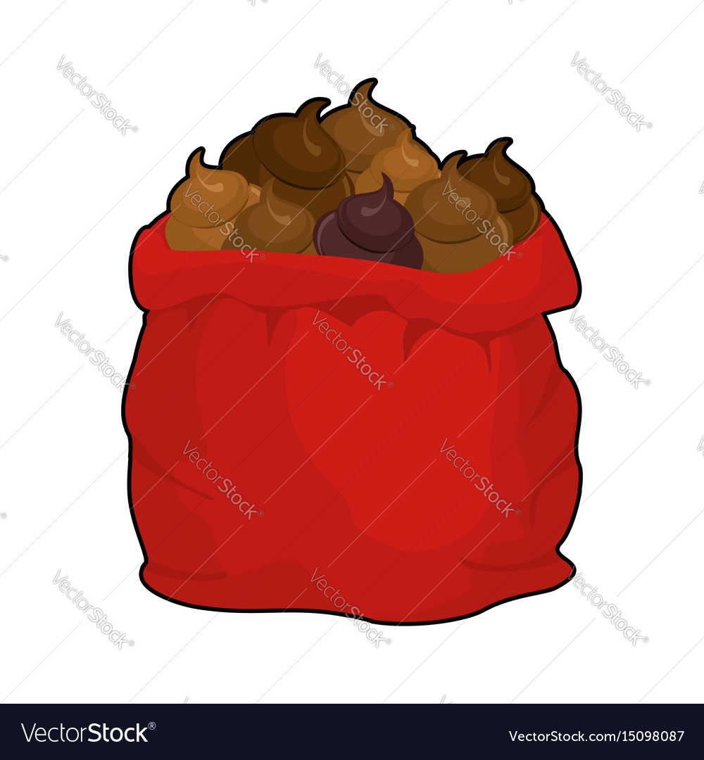Santa shit bag full sack turd big red christmas vector image