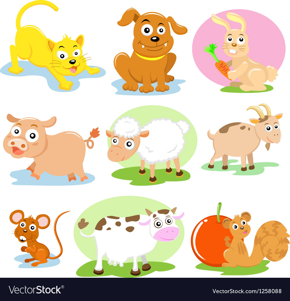 Domestic Animals set vector image