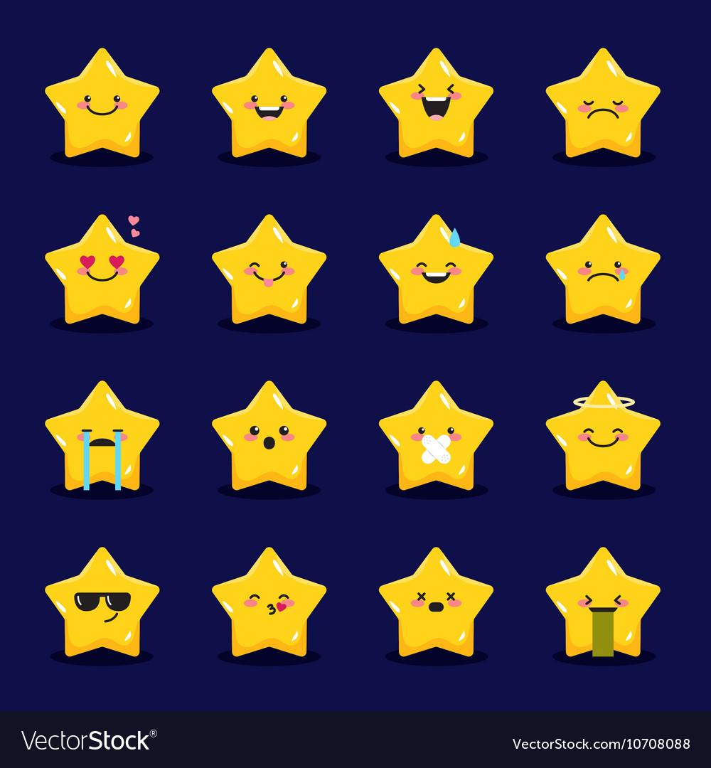 Star emoticons collection Cute emoji set vector image