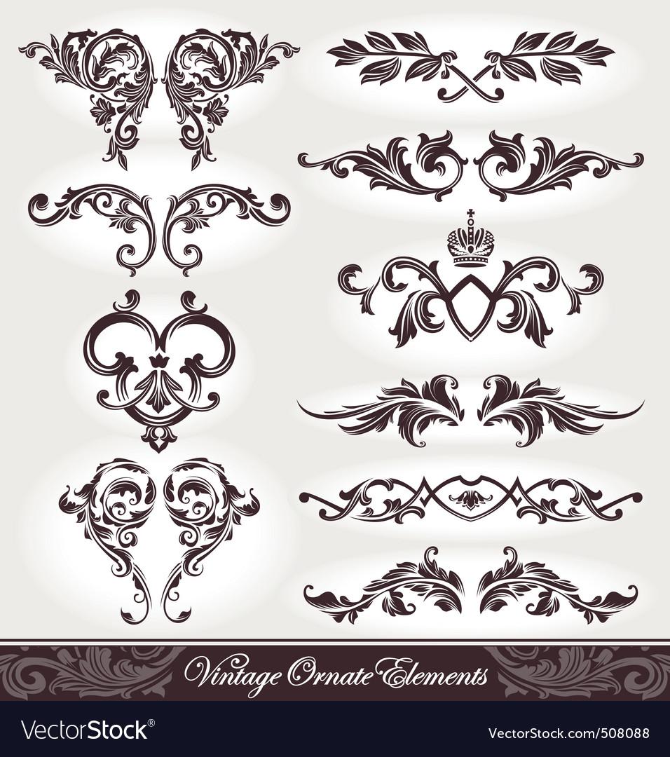 Vector set of ornaments vector image