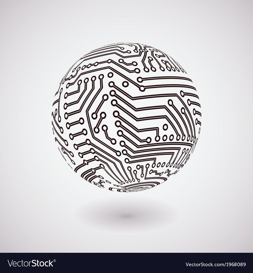 Circuit board sphere vector image