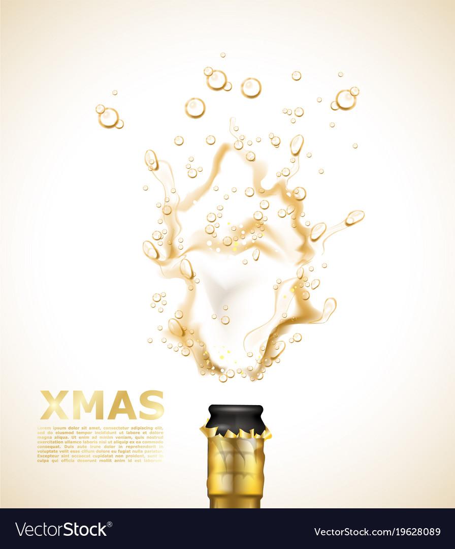 Realistic champagne explosion closeup xmas vector image