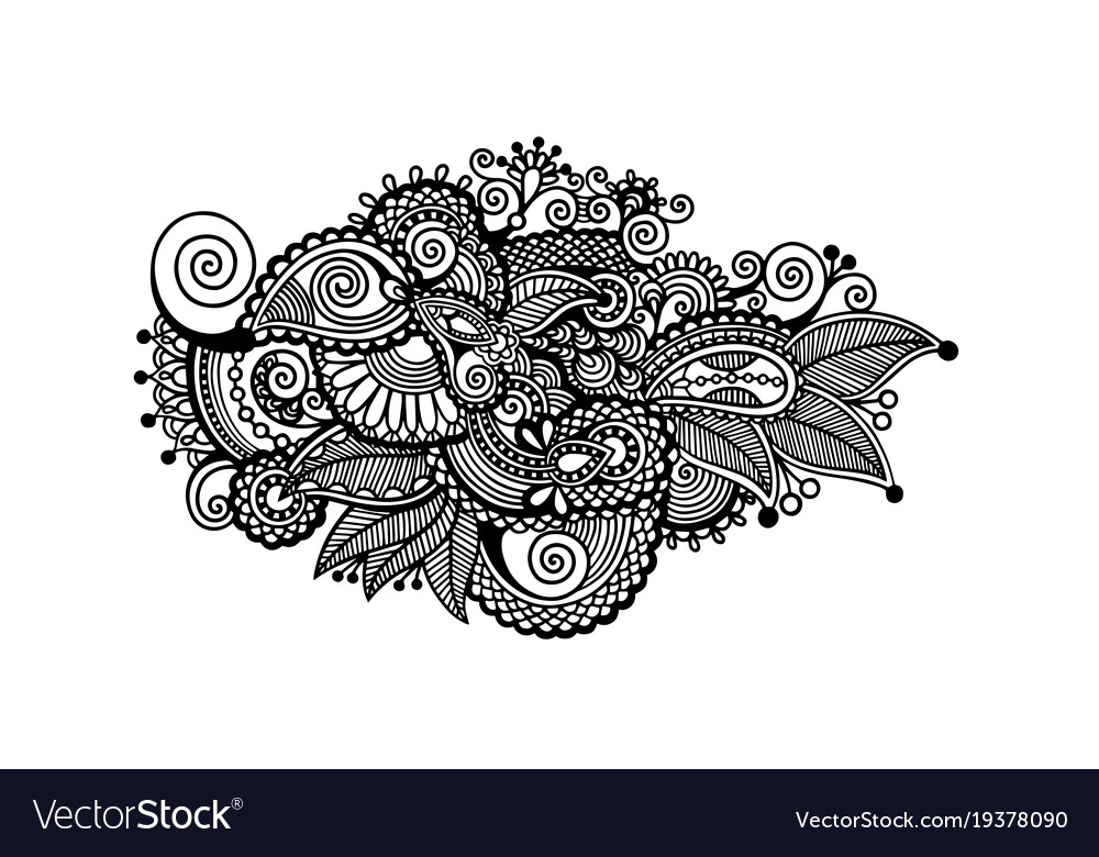 Mehndi Patterns Vector : Decorative paisley design floral indian pattern vector image