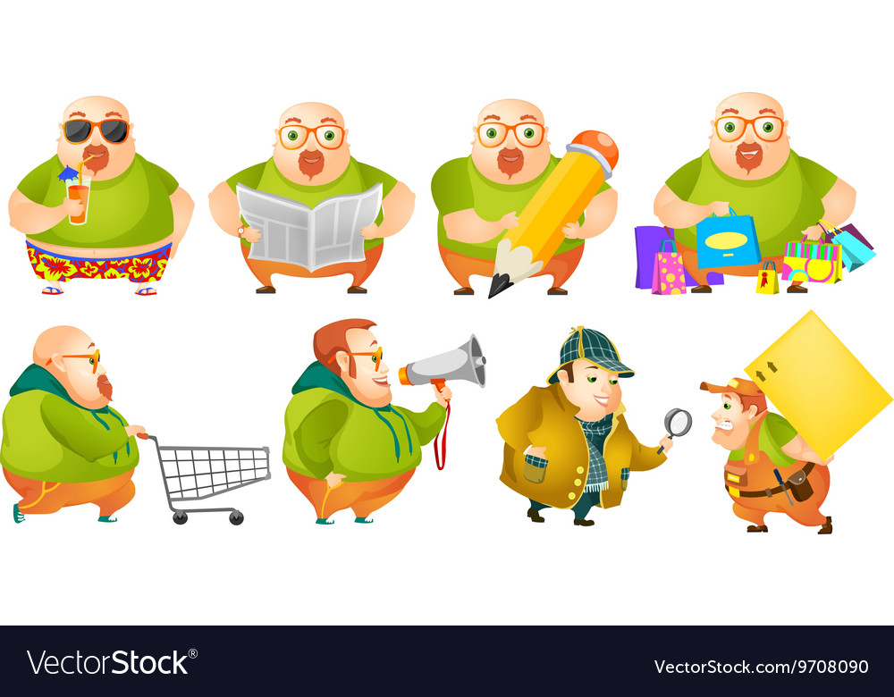 Set of cheerful fat man vector image