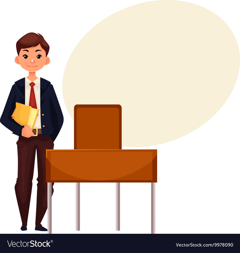 Smiling school boy standing at the desk holding a vector image