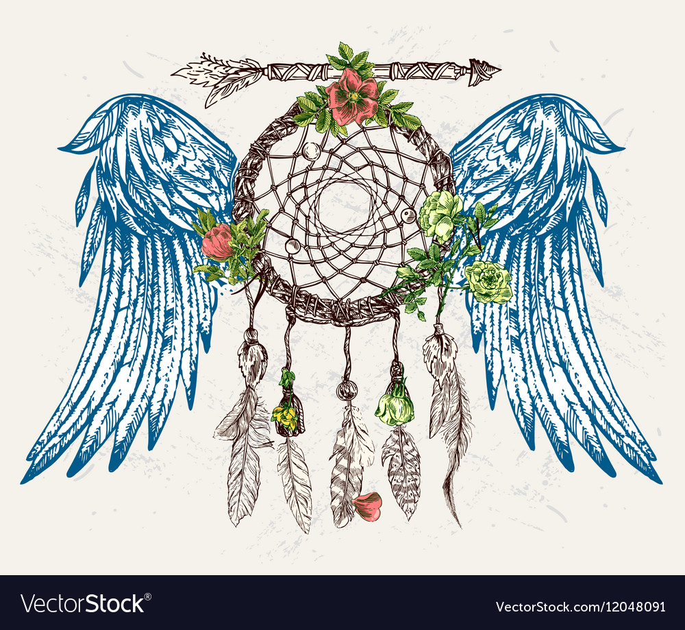 Dream catcher with wings vector image