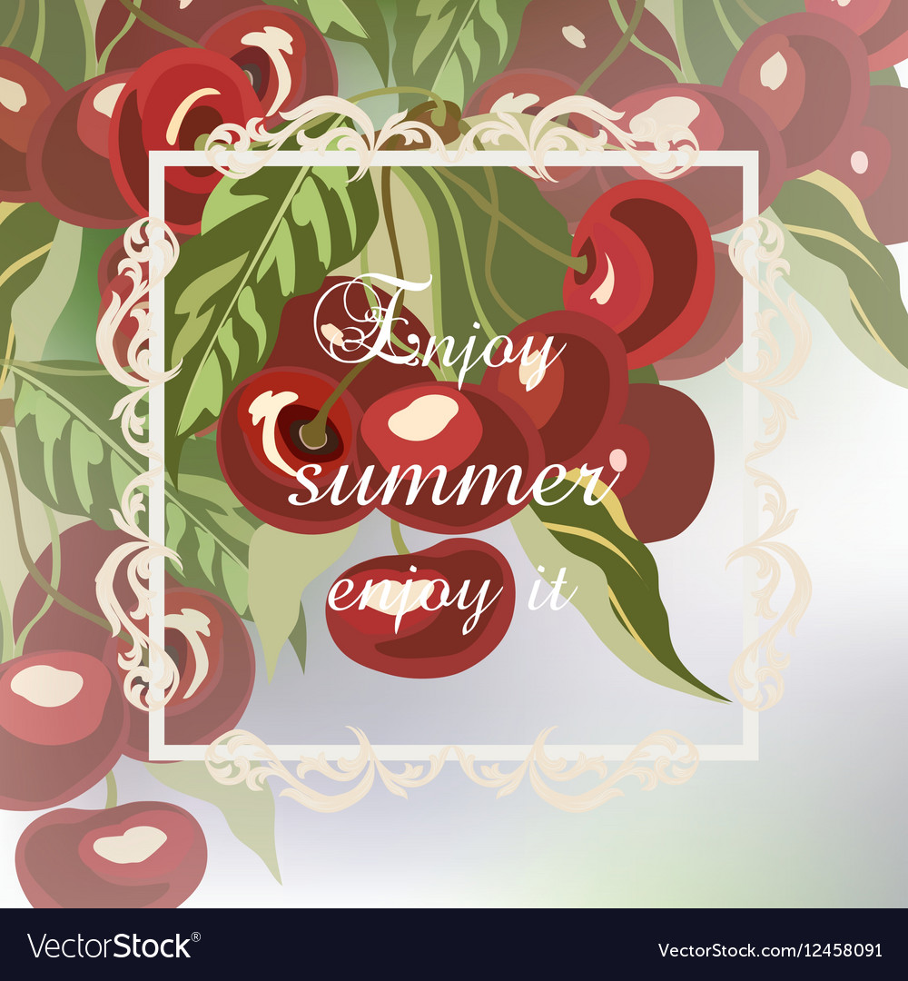 Enjoy Summer Cherry fruits Card vector image