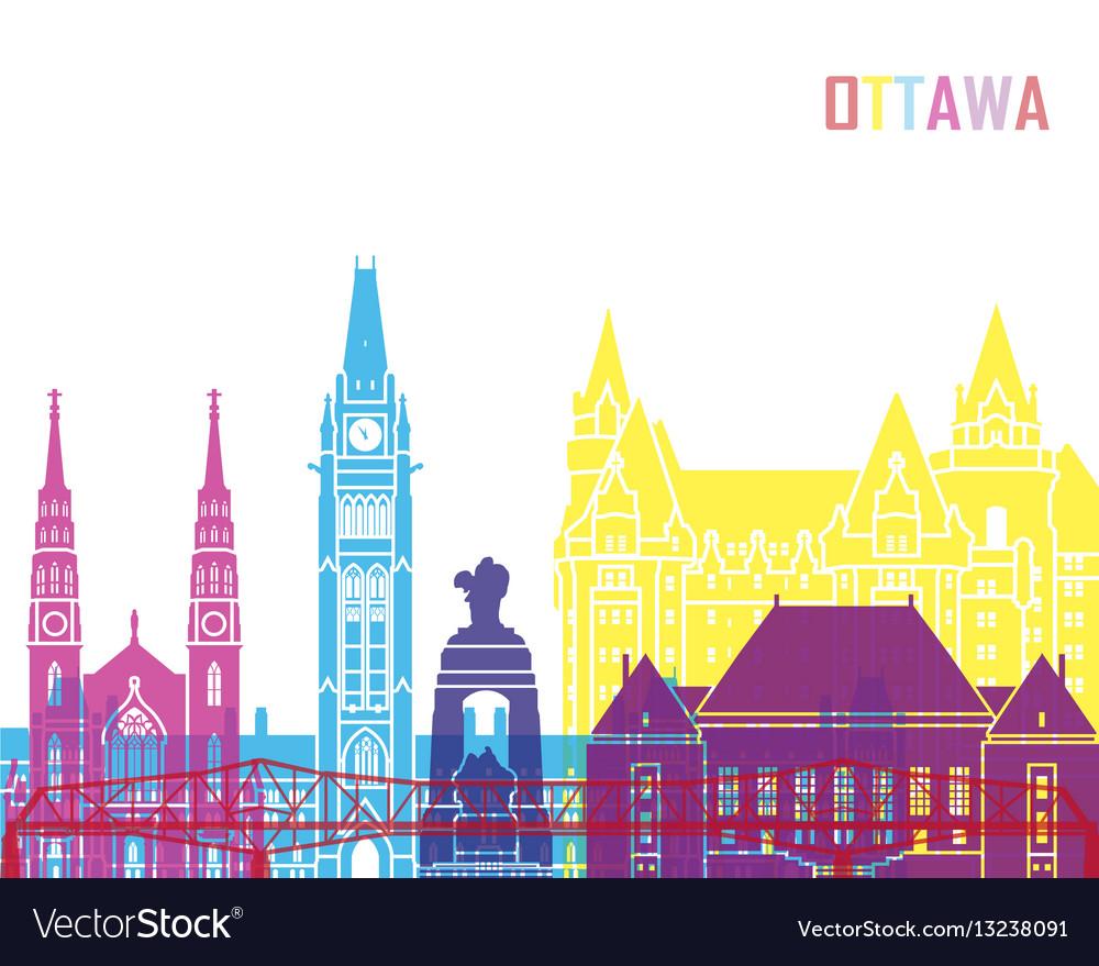 Ottawa v2 skyline pop vector image