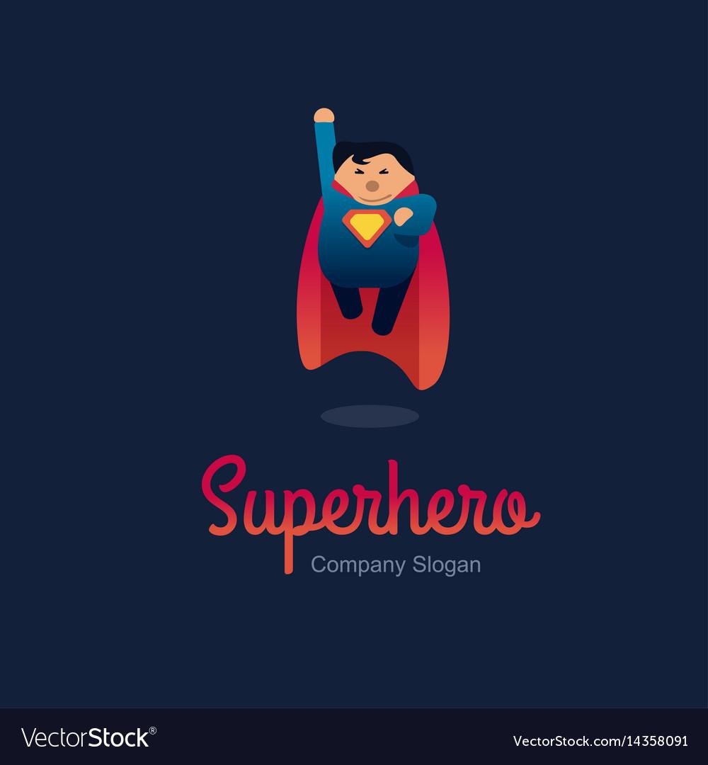 Superhero logo concept fat character flying flat vector image