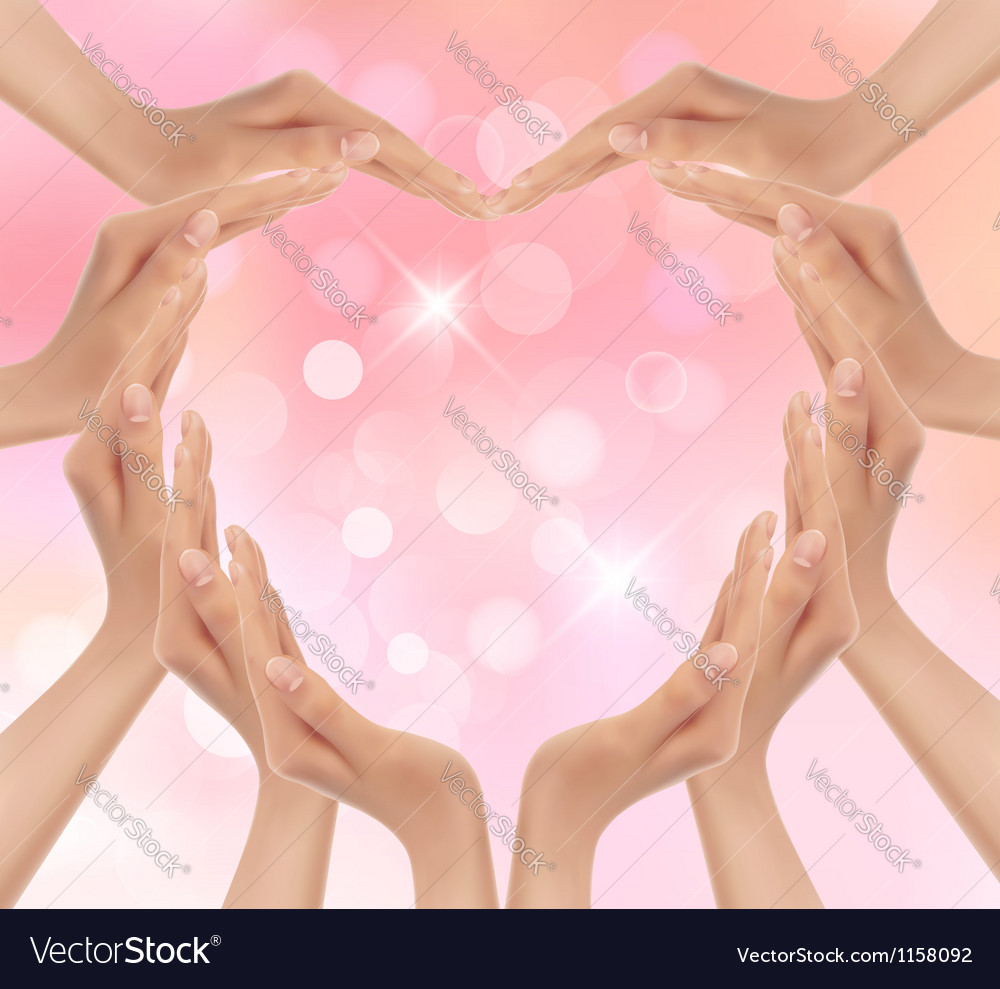 Hands making a heart Valentines day background Vector Image