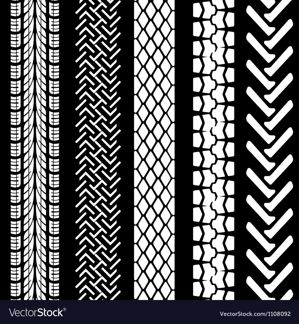 Set of detailed tire prints vector image