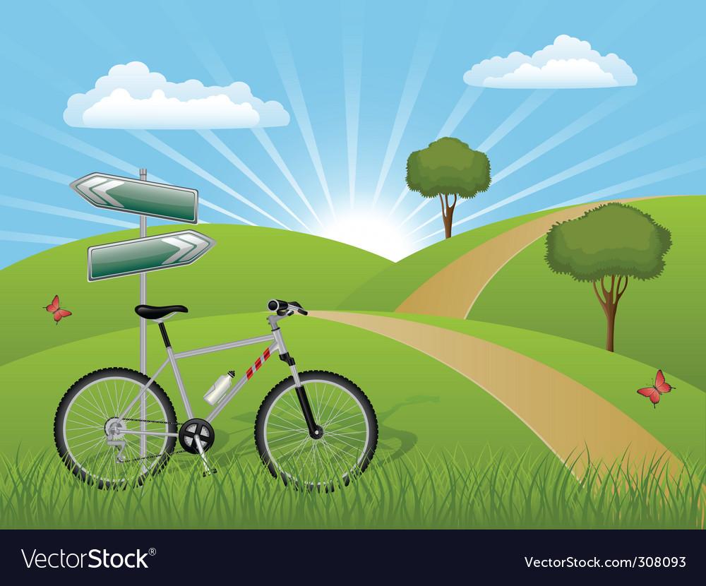 Summer landscape with a bike Vector Image